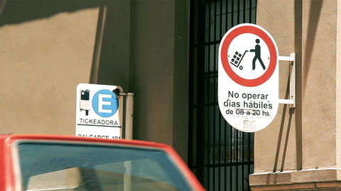 Parking Sign Street Indicating Location Ticket Machine and Prohibition Sign in Buenos Aires Live Action