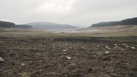 Panoramic view of catastrophic drought in Bulgaria. Studena dam almost dried up Live Action