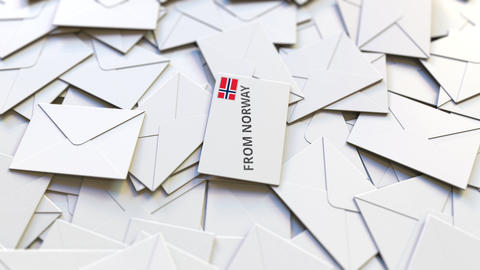 Letter with From Norway stamp among other Letters. International mail related Live Action