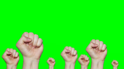 4k lot of fists raising up in front of green screen background Filmmaterial