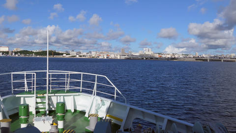 Ferry Entering Port Of Naha On Okinawa Island Japan Asia Live Action