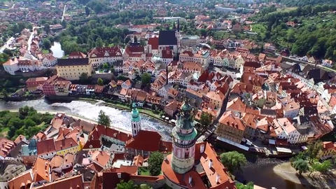 Architecture of Prague. You can see the beautiful Czech capital from a height Live Action