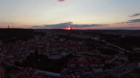 Sunset in Prague. Dinner is gradually coming night Live Action