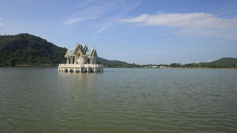 Thai style pavilion on the lake in sunny day ,Thailand Live Action