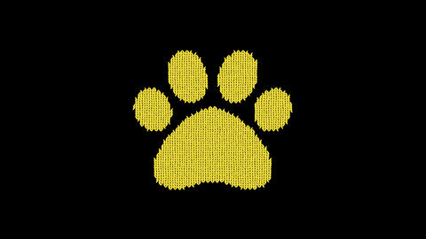 Symbol paw is knitted from a woolen thread. Knit like a sweater Animation
