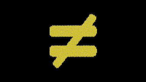 Symbol not equal is knitted from a woolen thread. Knit like a sweater Animation