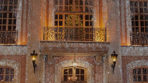 Russia Moscow. Glowing garland decoration for Christmas and New Year holidays Live Action