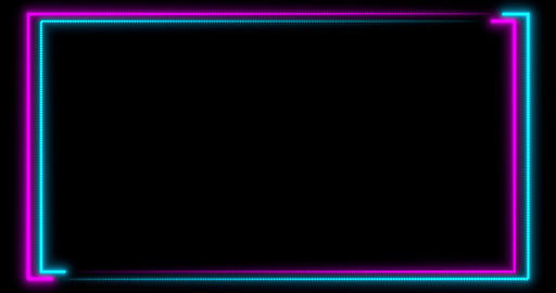 Neon background with LED frame screens. Fluorescent abstract blue, purple color Animation