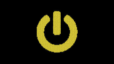 Symbol power off is knitted from a woolen thread. Knit like a sweater Animation