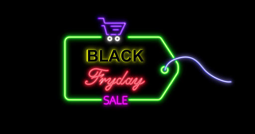Black Friday advertisement with neon sign. Loopable animation 4k. 3D rendering Animation