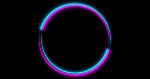 Neon Circle background with LED frame screens. Fluorescent abstract blue, purple Animation