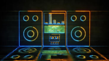 Radio Cassette Neon Music Visualizer After Effects Template