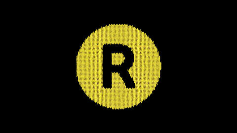 Symbol registered is knitted from a woolen thread. Knit like a sweater Animation