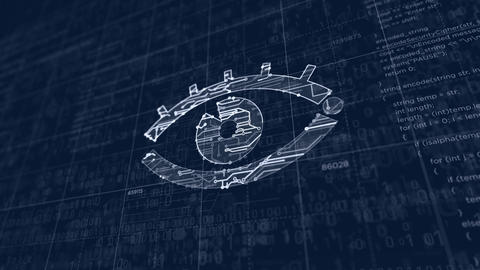 Cyber spying with eye symbol futuristic sketch Animation