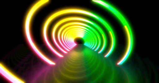 Abstract flying in futuristic disco star corridor. Seamless loop 4k background Animation