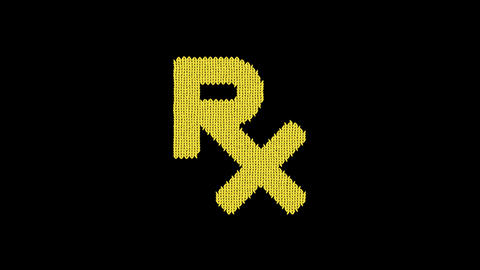 Symbol prescription is knitted from a woolen thread. Knit like a sweater Animation