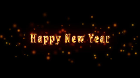 Happy New Year Golden Greeting Text With Particles Animation