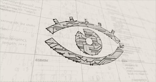 Cyber spying with eye symbol futuristic sketch Animation