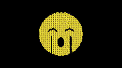 Symbol sad cry is knitted from a woolen thread. Knit like a sweater Animation