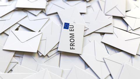 Letter with From the European Union text on pile of other Letters. International Live Action