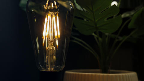 Table lamp with an edison light bulb close-up 실사 촬영