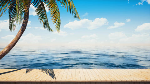 Colorful panoramic landscape:seaside wooden platform / deck table background Animation