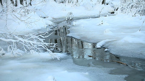 landscape with a snowy stream Live Action