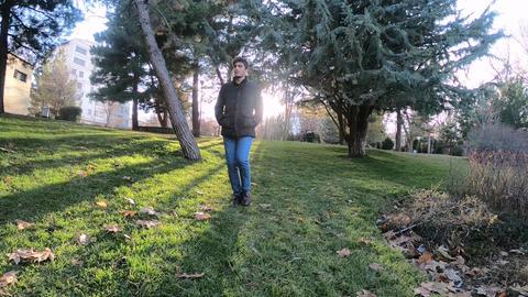 Man Walking In the Park 실사 촬영