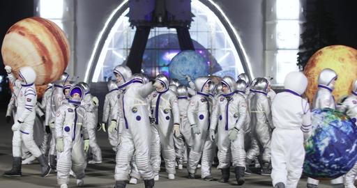 Animators in costumes of astronauts 실사 촬영