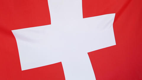 Flag of Switzerland, closeup Footage