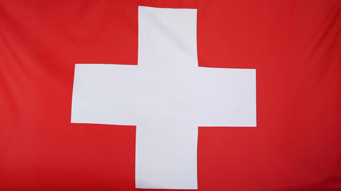 Textile flag of Switzerland Footage