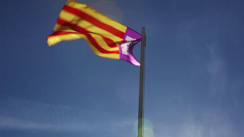 National flag of Majorca on a flagpole Footage