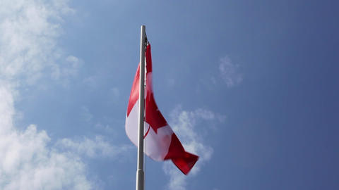 National flag of Canada on a flagpole Footage