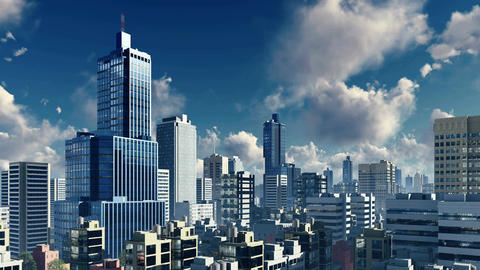 Daytime clouds over abstract big city skyline Footage