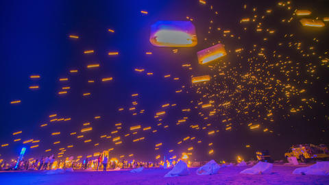 Time Lapse - Floating Sky Lanterns Against the Sky with Blue Tone Footage