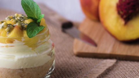 Desert with yogurt and passion fruit Footage