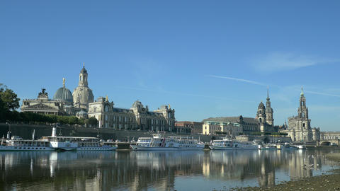Dresden - Scenic summer view of the Old Town with Elbe river in Saxony, Germany Footage