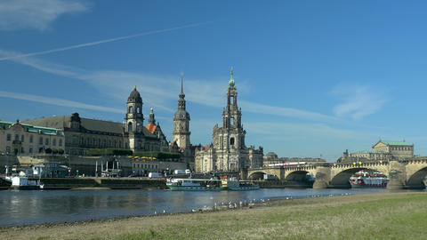 Dresden - Old Town with moving steamship on Elbe river in Saxony, Germany ライブ動画