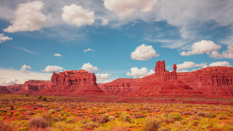 Time Lapse - Cloudscape Moving Over Monument Valley Footage