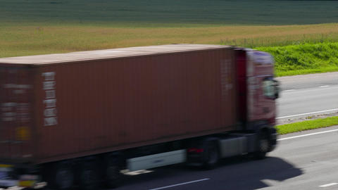 4K Ungraded: Three Trucks Drive on Intercity Highways Live Action