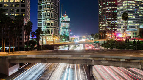 Time Lapse - Downtown Los Angeles with Traffic at Night Footage