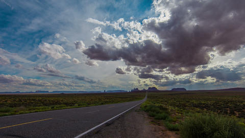 Time Lapse - Beautiful Cloudscape over Monument Valley Road Footage