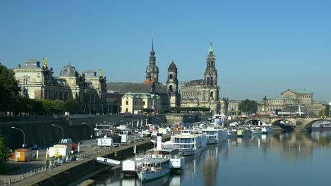 Dresden - Scenic summer view of the Old Town with Elbe river in Saxony, Germany ライブ動画