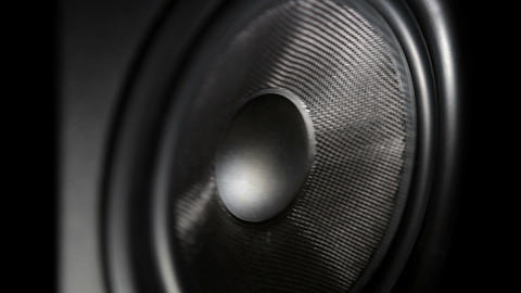 Bass speaker reprodusing low frequency sound Footage