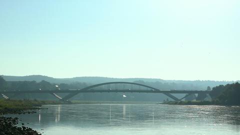 Modern Bridge in morning light. Waldschloesschenbruecke, Dresden, Germany Footage