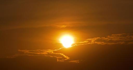 Timelapse Of Beautiful Orange Sunset On Cloudy Sky Footage
