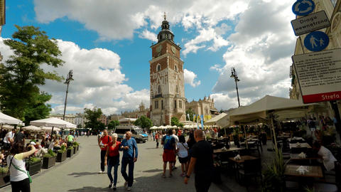 Town Hall Tower in Krakow. Poland. 4K Live Action