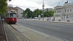 A red tram in the center of Vienna Footage