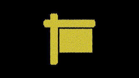 Symbol sign is knitted from a woolen thread. Knit like a sweater Animation