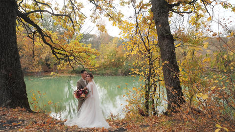 Wedding in the woods in nature. Groom and bride hugging near a lake in autumn Live Action